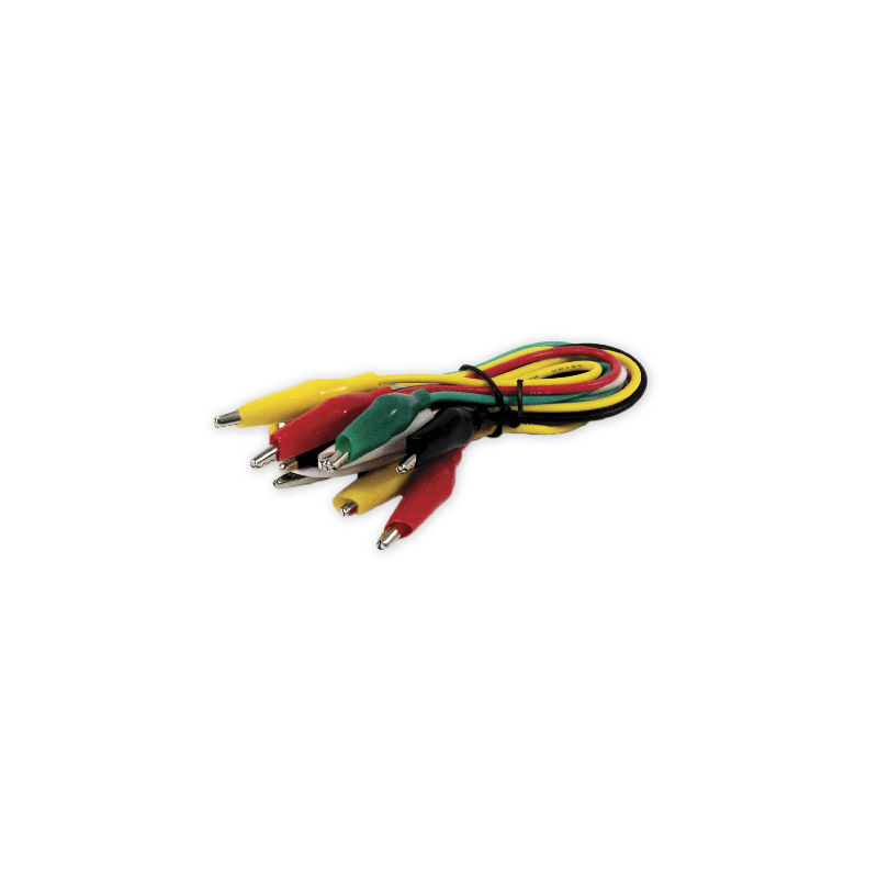 connection wire with alligator clips red/black/yellow/white/green 24